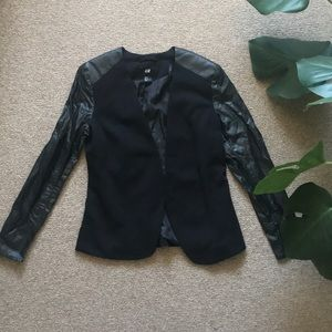 H&M Black Faux Leather Sleeve Blazer